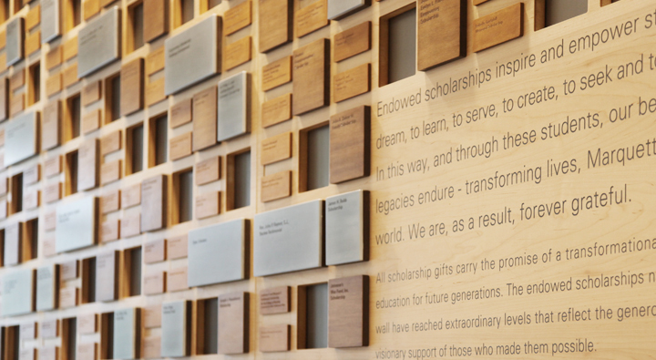 Marquette University, Zilber Hall, Donor Wall, Environmental Graphics